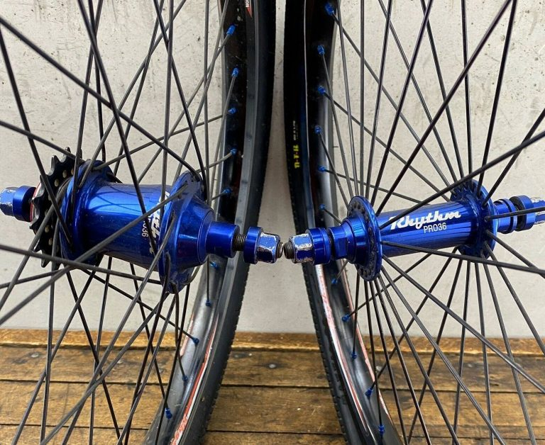 Crupi Rhythm Pro 36 BMX Wheel Set 20 inch Blue Racing Hubs